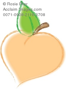 Clip Art Illustration Of A Peach with a Green Leaf and Stem.