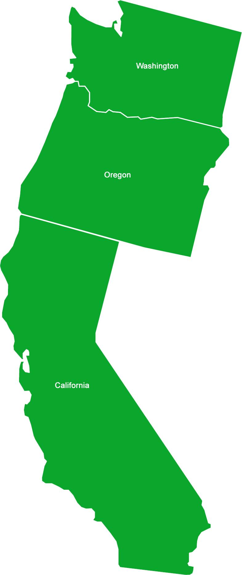 California Washington Oregon Idaho Jefferson.