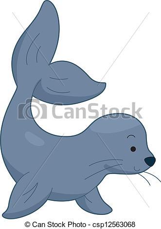 Clip Art Vector of Sea Lion.