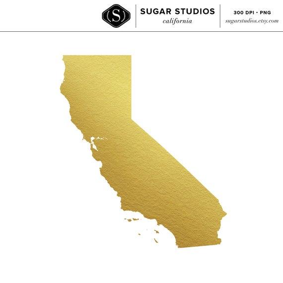 California Gold Foil State Clip Art.