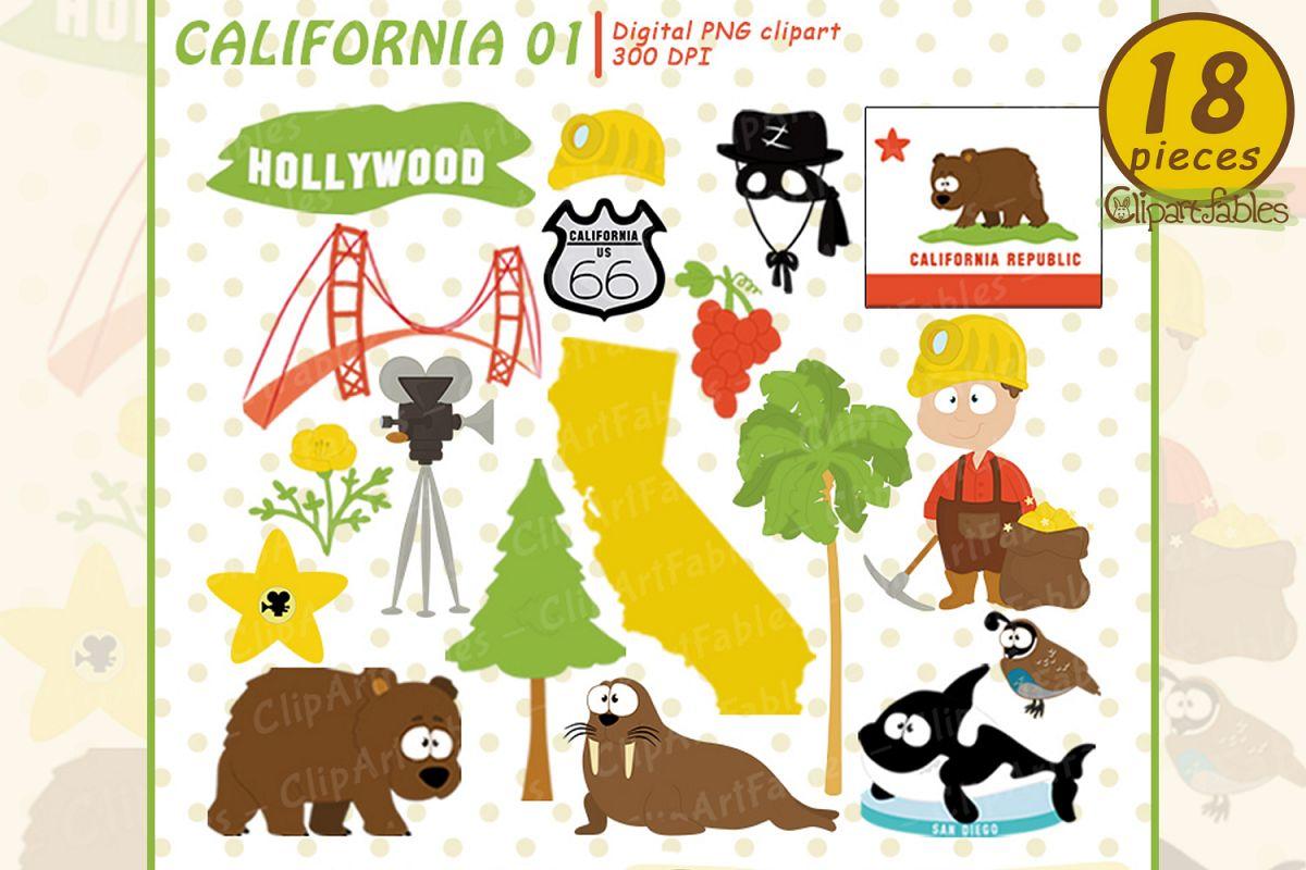 CALIFORNIA State clipart, Cute California bear.