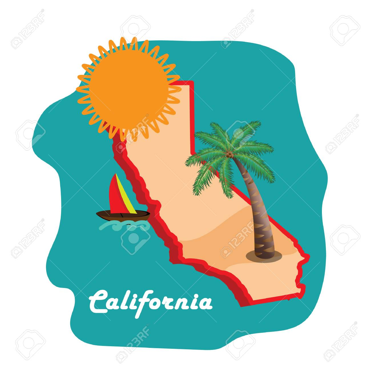 california state map with long beach.