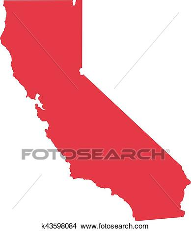 California state map Clipart.