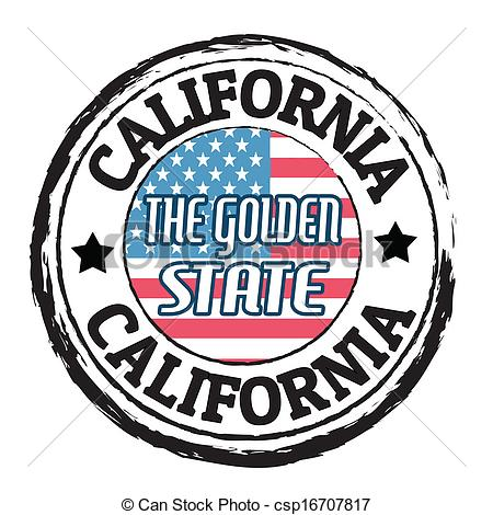Vector Clip Art of California, The golden state stamp.