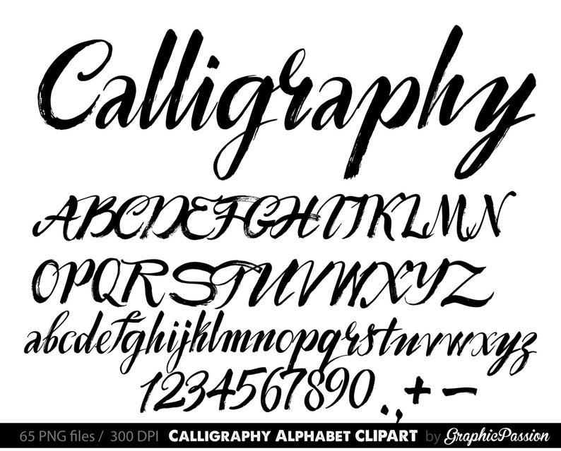 Calligraphy Alphabet clip art, Calligraphy clip art, Calligraphic clipart,  Digital alphabet, Handwritten alphabet, Digital calligraphy.