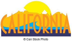 Clip Art Vector of California state map, flag, seal and name.