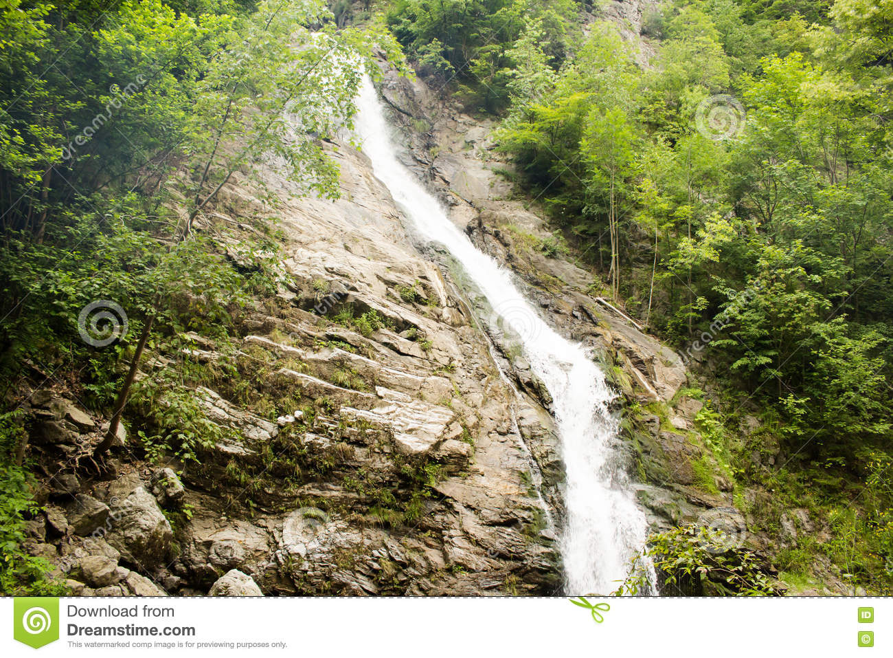 Lotrisor Waterfall In Cozia National Park, Romania Stock Photo.