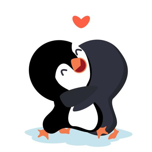 Penguins de dessin animé heureux Couple câlin.