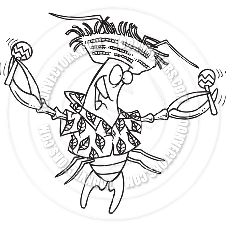 Cartoon Calypso Crawfish (Black and White Line Art) by Ron.