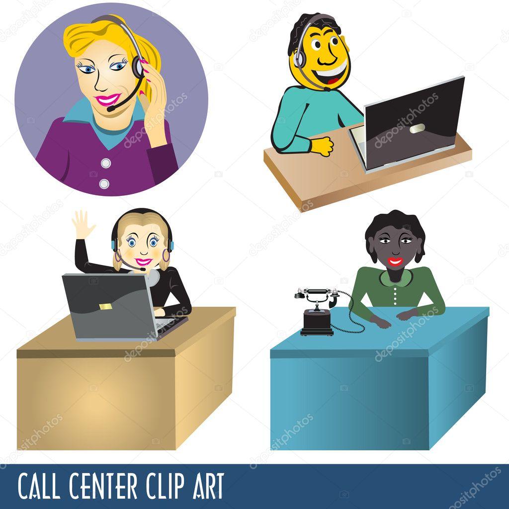 Call Center Clip Art — Stock Vector © Stiven #3863392.