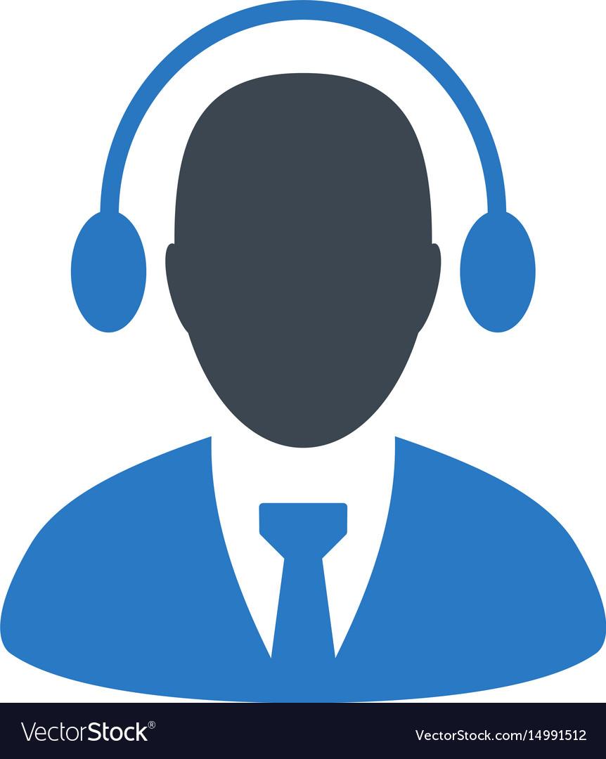 Call center agent flat icon.