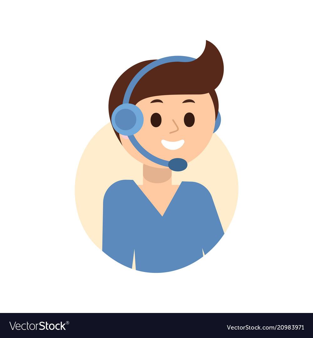 Operator of call center in headphone.