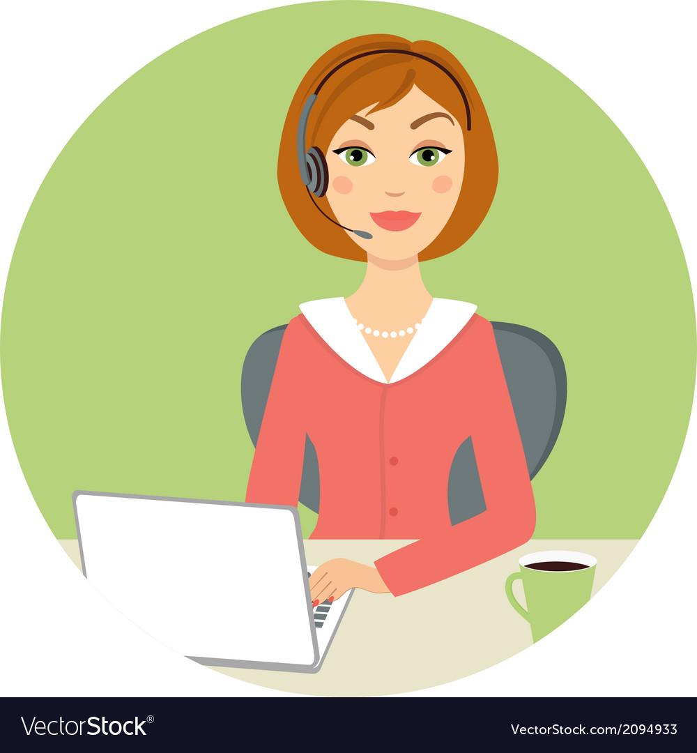 Beautiful call center woman vector image.
