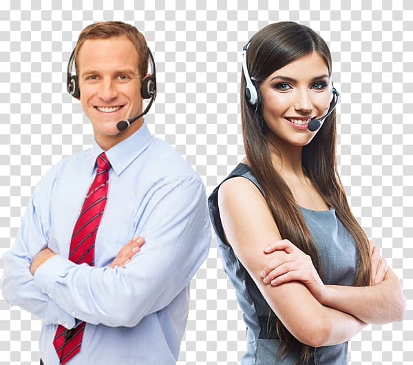 Man and woman wearing business attire and headsets.