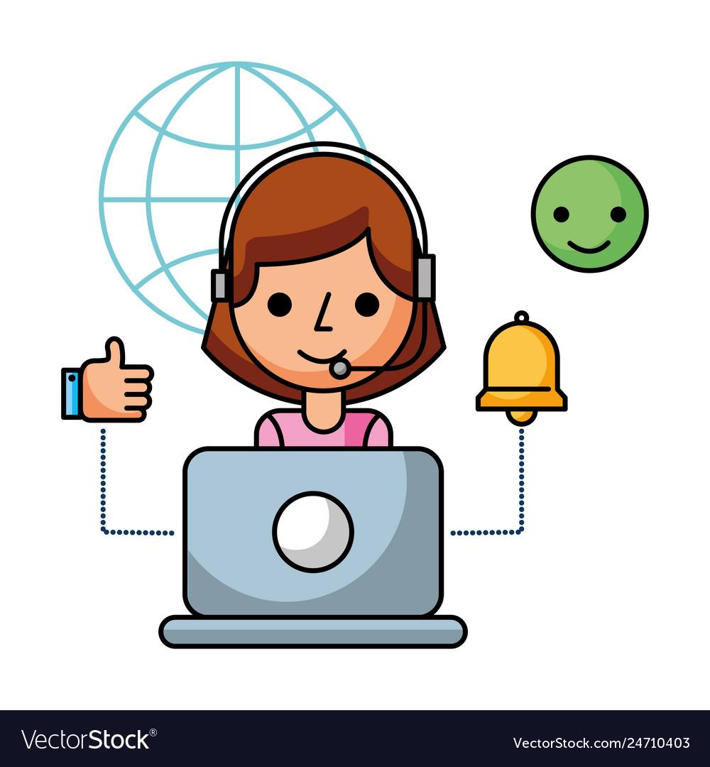 Call center girl laptop world alert.