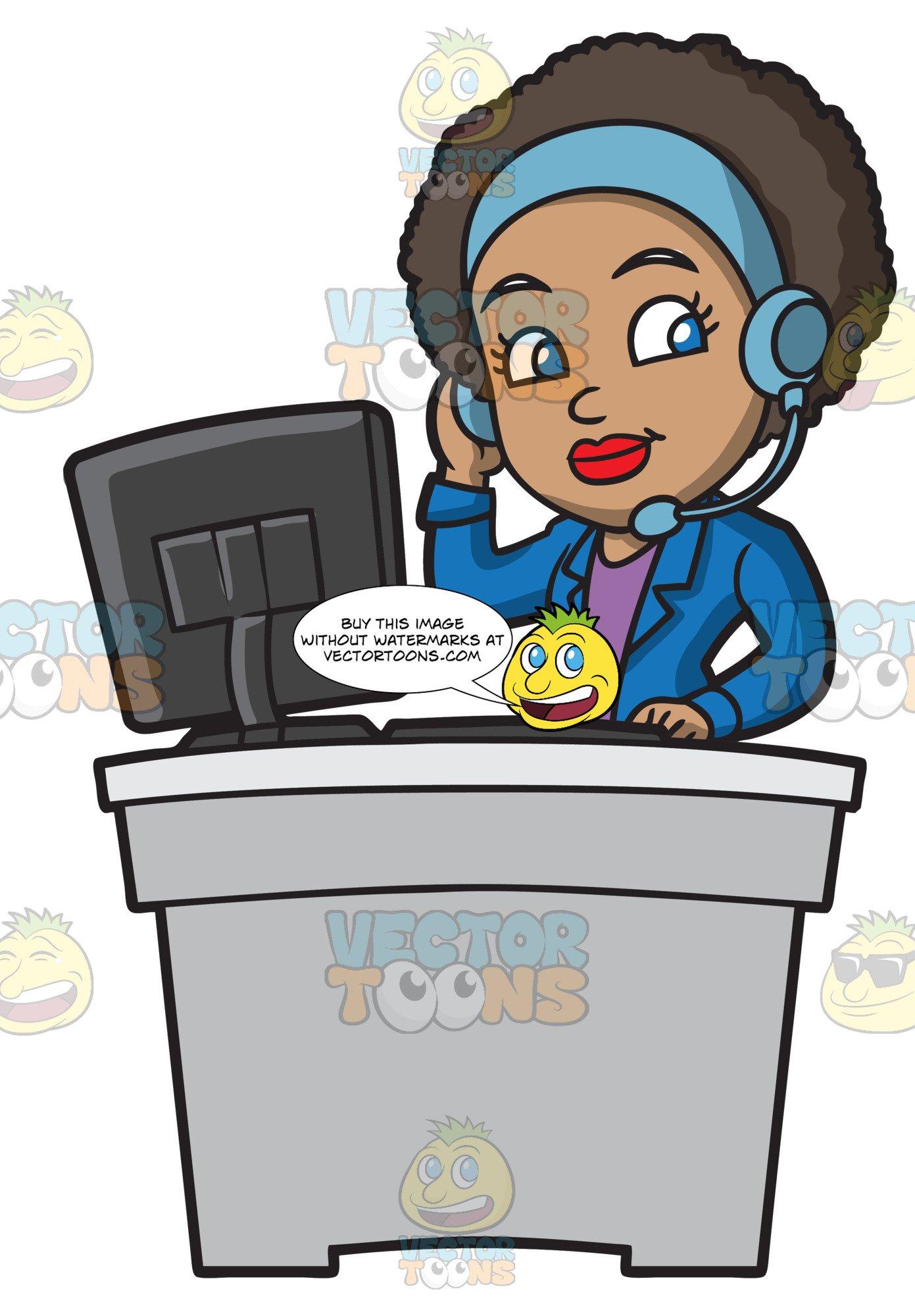 A Groovy Female Call Center Agent.