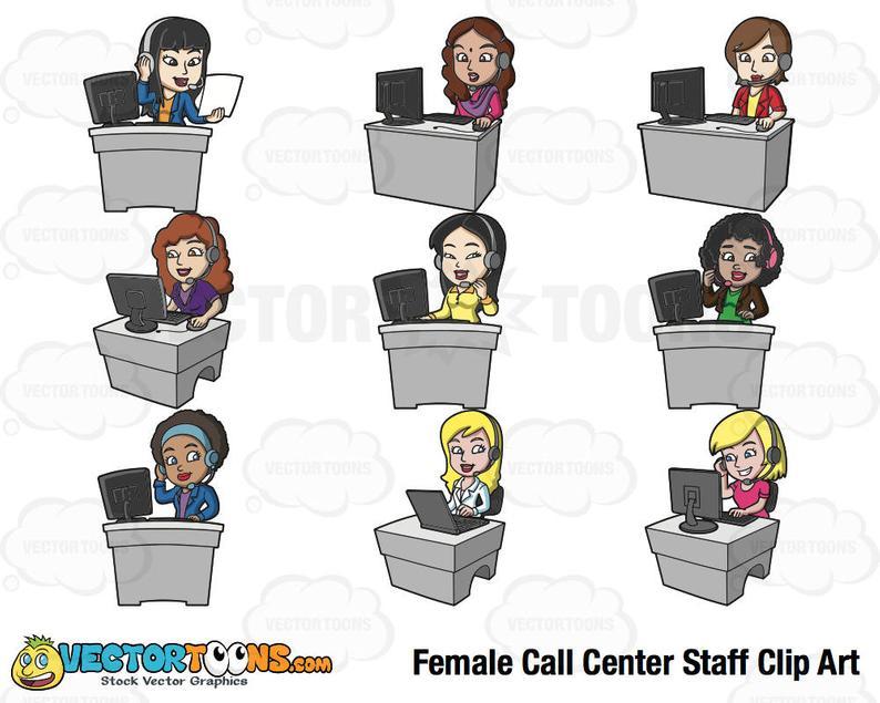 Female Call Center Staff Clip Art, Digital Clipart, Digital Graphics.