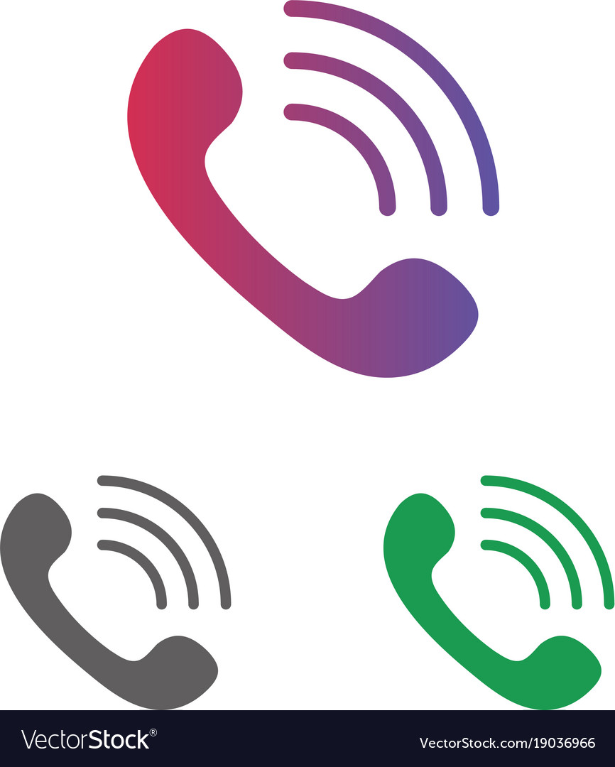 Telephone call icon set clipart isolated on white.