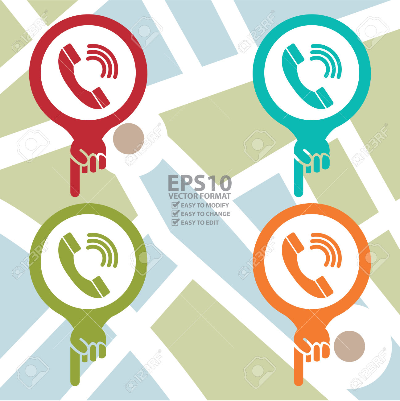 Colorful Map Pointer Icon With Telephone Box, Telephone Booth.