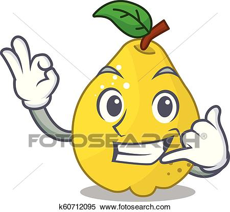 Call me sweet quince isolated on mascot cartoon Clipart.