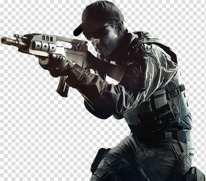 Man holding assault rifle illustration, Call Of Duty Soldier.