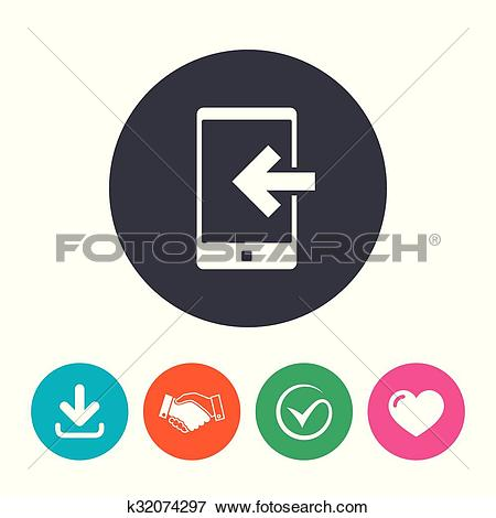 Clip Art of Incoming call sign icon. Smartphone symbol. k32074297.