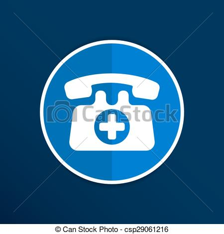 Vector Clip Art of emergency call sign icon vector fire phone.