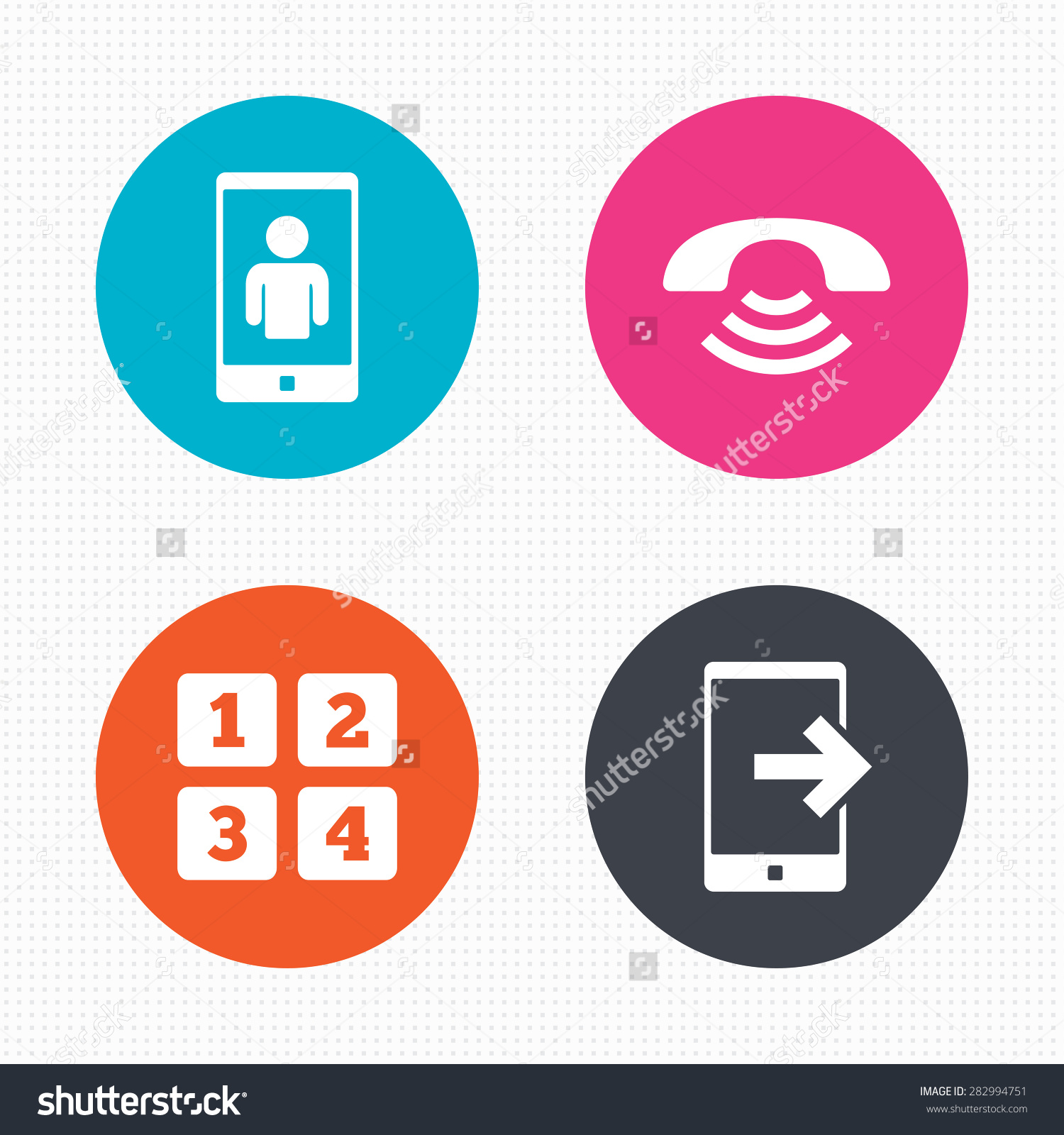 Circle Buttons Phone Icons Smartphone Video Stock Vector 282994751.