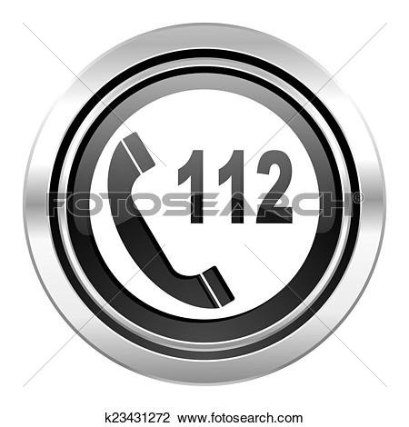 Clip Art of emergency call icon, black chrome button, 112 call.