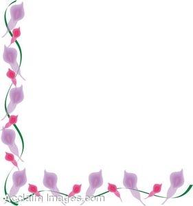 Clip Art of a Pink Calla Lily Border.