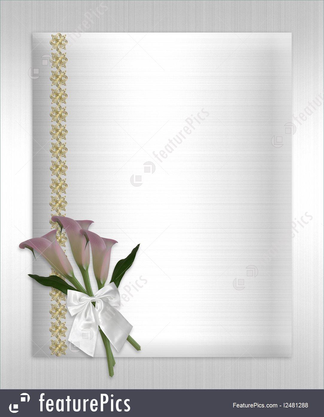 Wedding Invitation Calla Lilies White Satin Royalty.