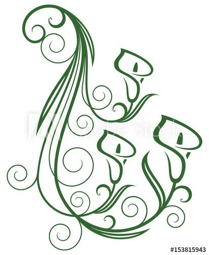 Calla lily, floral swirls design elements. Vector.