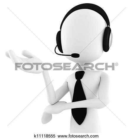 Clip Art of 3d man call center k11121552.