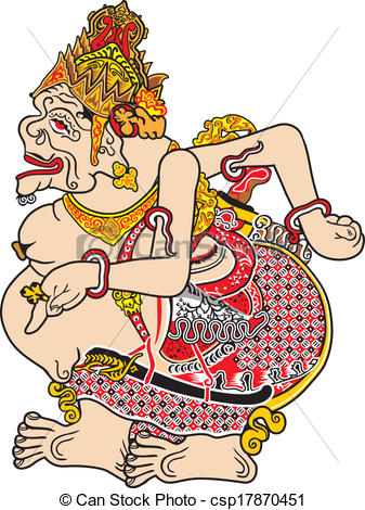 Clipart Vector of javanese puppet called ratu semar.