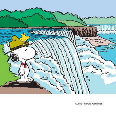 Scoutmaster Snoopy With Woodstock at Waterfall.