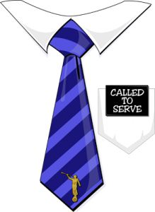 Called to Serve Missionary Tag Blue Tie.
