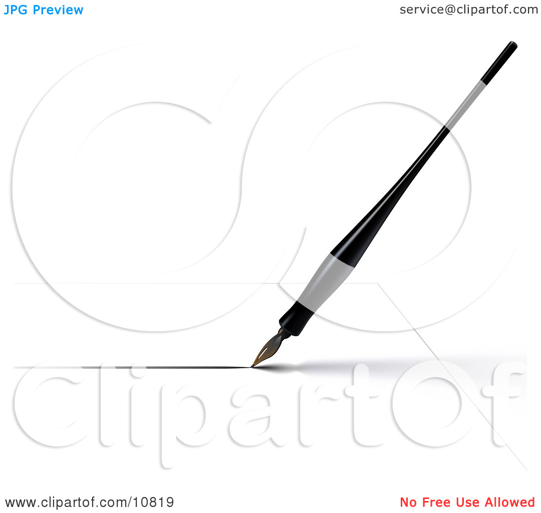 a Black Calligraphy Ink Pen Writing on White Paper Clipart.