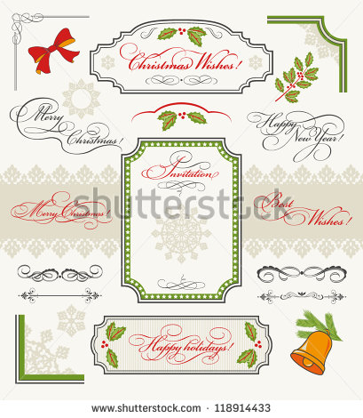 Christmas Collection Of Design Elements: Set Of Calligraphic Texts.