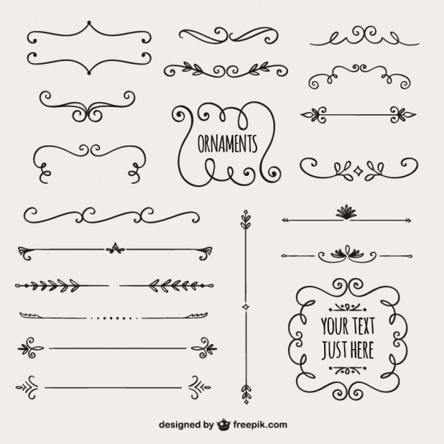 Calligraphic Christmas Border Collections Clipart.