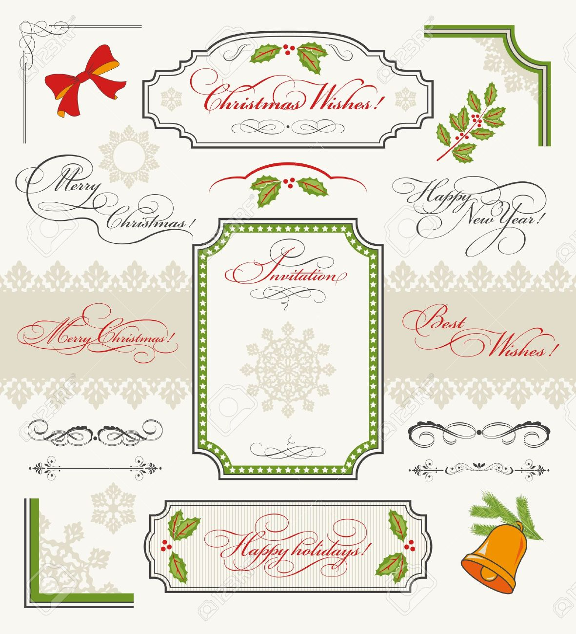 Christmas Collection Of Design Elements Set Of Calligraphic.