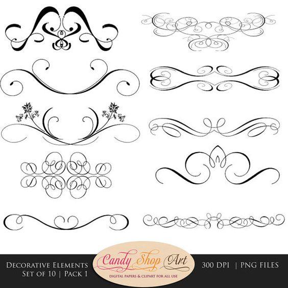 Decorative Swashes, Swirls, Calligraphy Swashes, Clip Art, Digital.