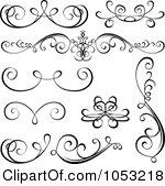 Clipart Black And White Calligraphic Designs.