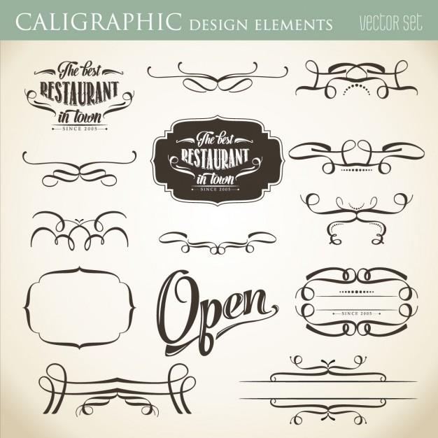 Calligraphic design elements Vector.