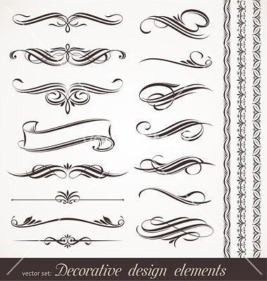 Calligraphic design elements vector 533942.