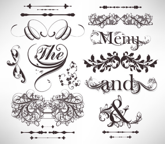 Calligraphic design elements and page decoration.