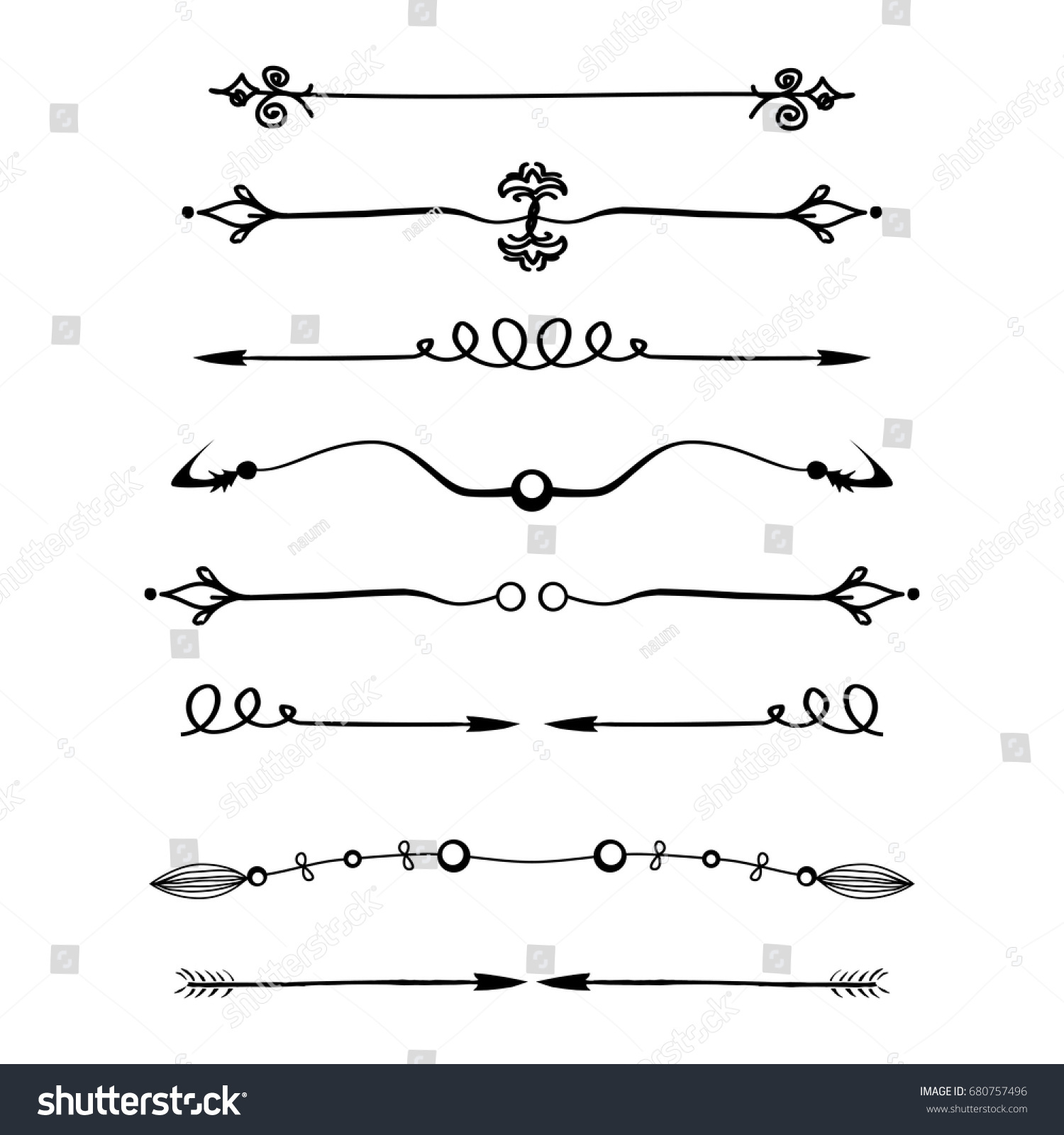 Set Calligraphic Design Elements Page Decor Stock Vector (Royalty.
