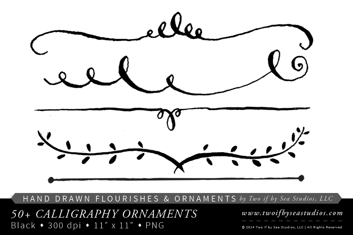 Calligraphy Swirls Clipart.