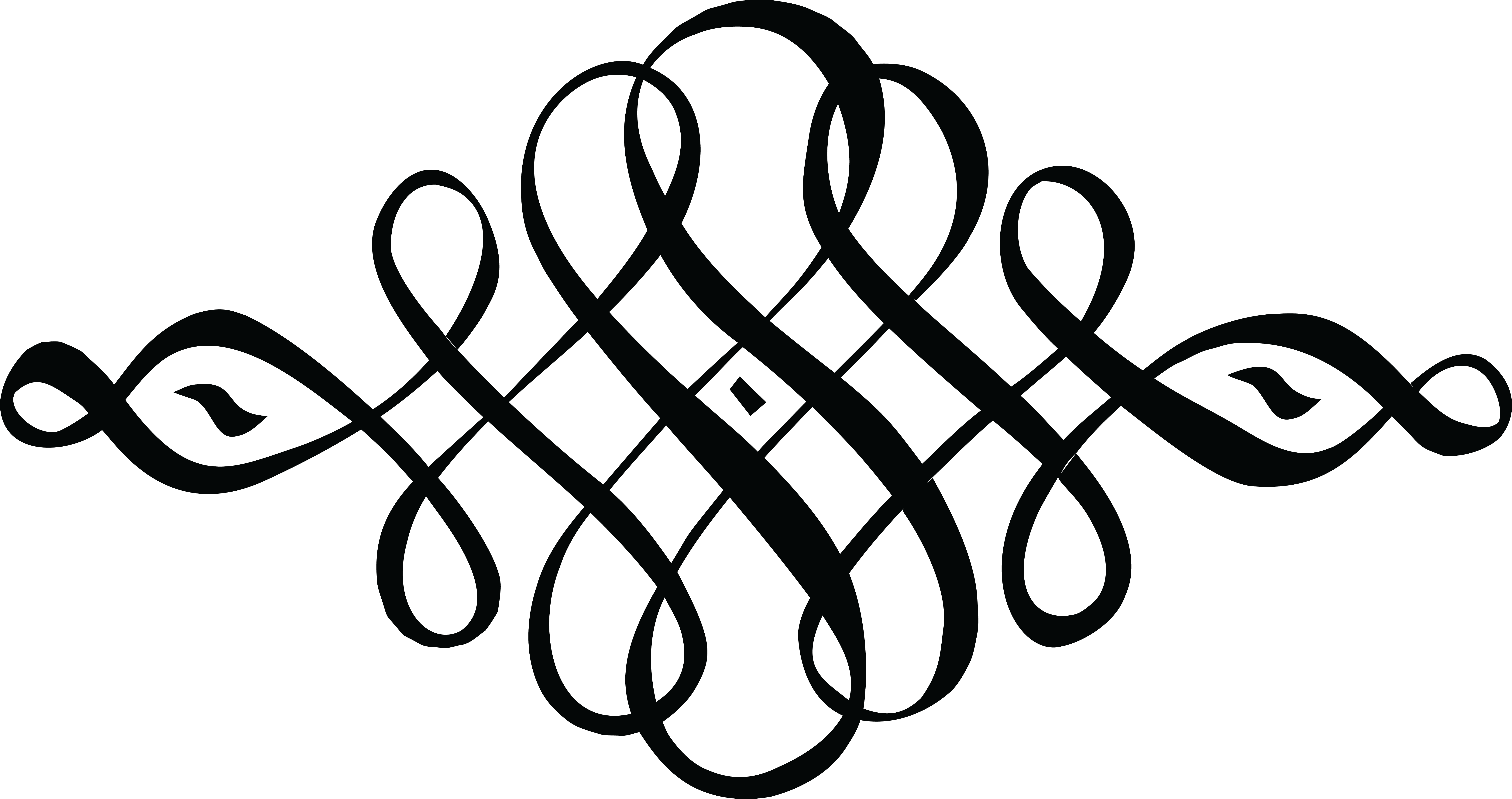 Download Free Clipart Of A Black And White Calligraphic.