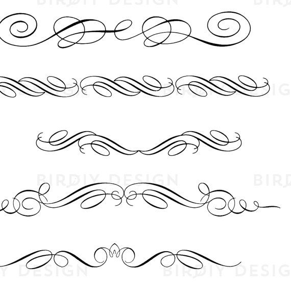 Vintage Clipart Scrolls and Flourishes Calligraphy Clipart.