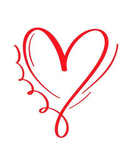 Red Vector Valentines Day Hand Drawn Calligraphic Heart.
